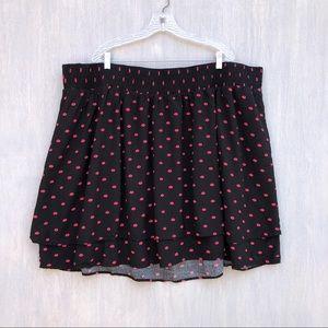 Torrid lips print skirt 4x elastic waist flowy